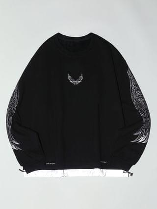 MEN Fleece Lined Reflective Wing Pattern Faux Twinset Sweatshirt - Black 3xl