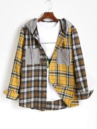 MEN Plaid Long Sleeve Shirt With Corduroy Hood - Yellow M