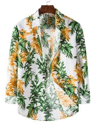 MEN Long Sleeve Tropical Leaves Print Shirt - White M
