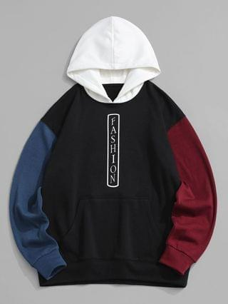 MEN FASHION Colorblock Fleece Lined Hoodie - Black M