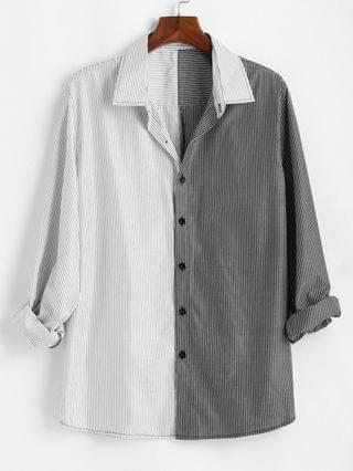 MEN Two Tone Striped Shirt - White M