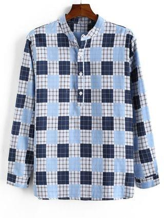 MEN Plaid Pattern Half Button Long Sleeve Shirt - Light Blue M