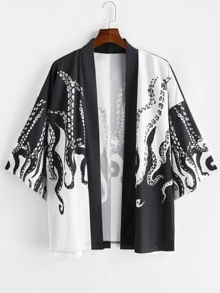 MEN Open Front Octopus Print Vacation Kimono Cardigan - Black L