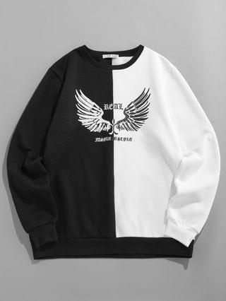 MEN Contrast Wings Print Fleece Sweatshirt - Black 2xl