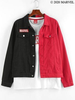 MEN Marvel Spider-Man Embroidery Two Tone Jean Jacket - Multi Xl