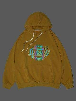 MEN Reflective Letter Graphic Drop Shoulder Hoodie - Yellow M
