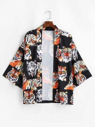 MEN Open Front Tiger Pattern Kimono Cardigan - Black M