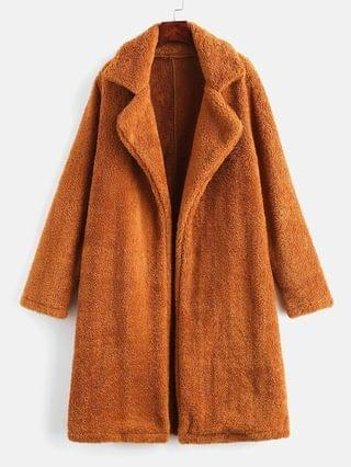 WOMEN Lapel Collar Plain Faux Fur Teddy Coat - Light Brown M