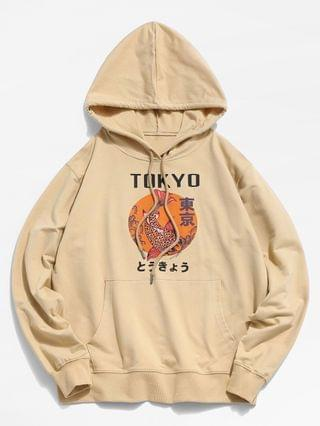 MEN Tokyo Carp Print Kangaroo Pocket Hoodie - Light Yellow Xs