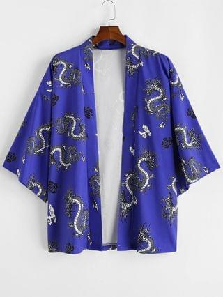 MEN Dragon Flower Print Open Front Kimono Cardigan - Cobalt Blue Xl