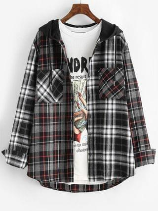 MEN Plaid Pattern Pocket Hooded Shirt - Gray M