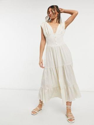 WOMEN shirred waist button front tiered midi sundress in crinkle in oatmeal