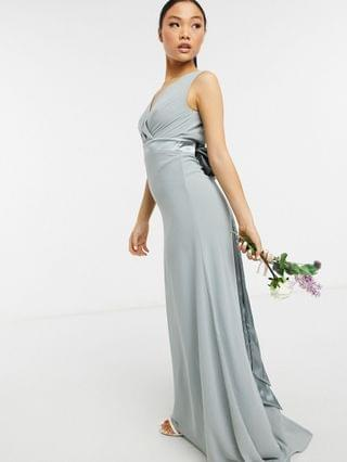 WOMEN TFNC Petite bridesmaid plunge front bow back maxi dress in sage