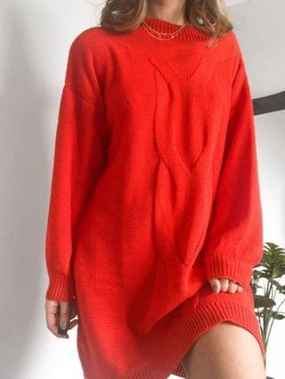 WOMEN Rokoko chunky knit mini dress in orange