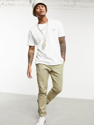 Nudie Jeans Co Uno circle logo t-shirt in white