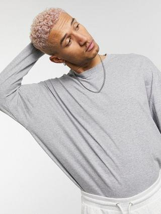long sleeve oversized t-shirt in gray heather