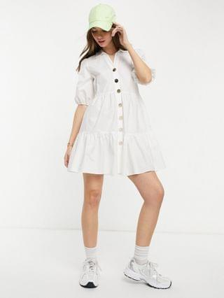 WOMEN River Island volume smock mini shirt dress in white