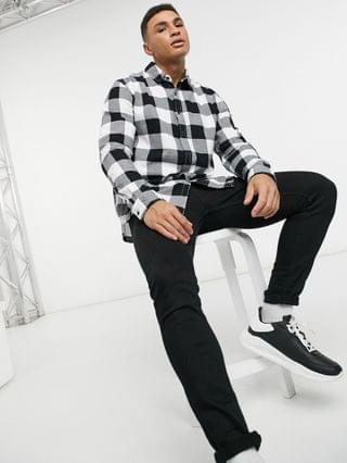 Topman buffalo check slim shirt in black and white