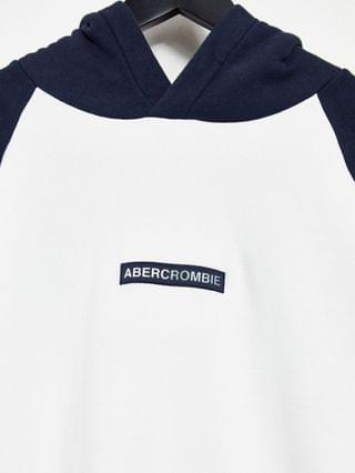 Abercrombie & Fitch central logo colorblock hoodie in white/navy