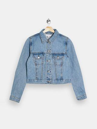 WOMEN Topshop Petite cropped denim jacket in mid wash blue
