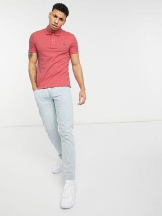 Lacoste slim fit pique polo in dark pink