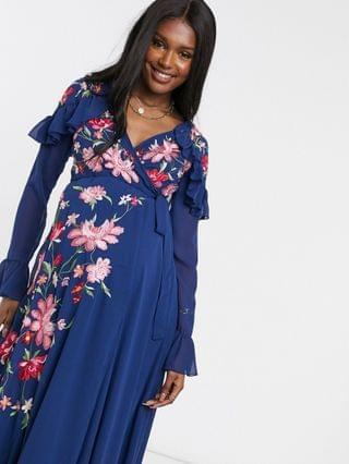 WOMEN Maternity embroidered wrap maxi dress with peplum hem and fluted sleeves in navy