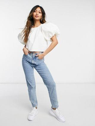 WOMEN Ghospell puff sleeve cropped blouse in off white
