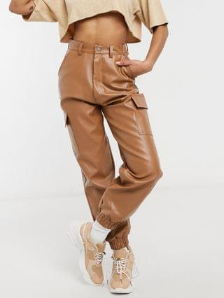 WOMEN Missguided Petite faux leather cargo pant in toffee