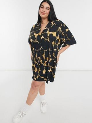 WOMEN Curve mini shirt dress with short sleeves in black and yellow abstract print