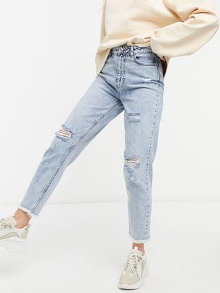 WOMEN New Look acid wash ripped mom jeans in light blue
