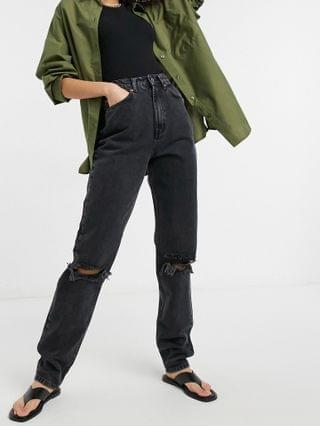 WOMEN Tall high rise 'slouchy' mom jeans in washed black with rips