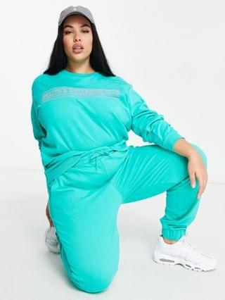 WOMEN Simply Be self care club sweatpants in teal - part of a set