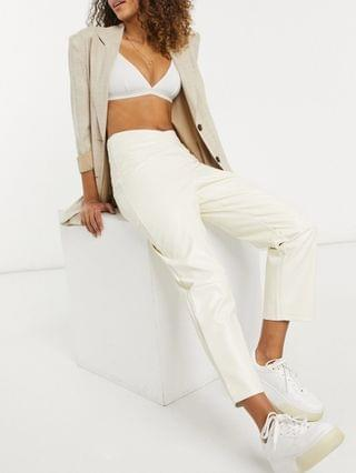 WOMEN Fashion Union straight leg pants with waist seam detail in faux leather