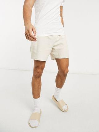 New Look waffle T-shirt and shorts in off white