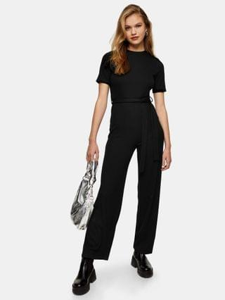 WOMEN Topshop ribbed T-shirt jumpsuit in black