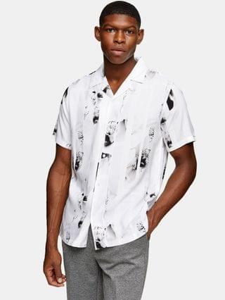 Topman stripe floral slim shirt in black and white