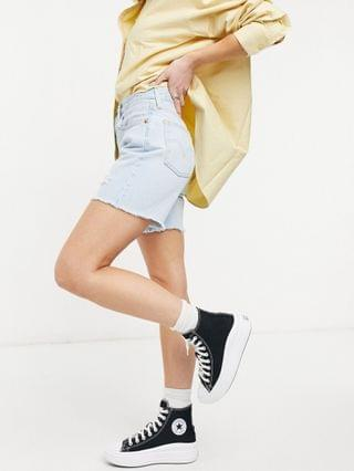 WOMEN Levi's 501 mid thigh denim shorts in bleach wash