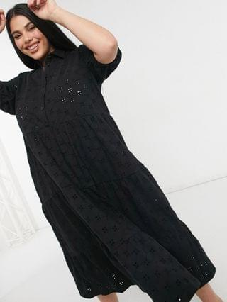 WOMEN Curve broderie midi tiered shirt dress with short sleeves in black