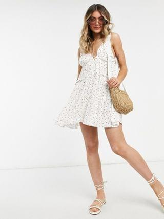 WOMEN button front tiered mini sundress in spot print