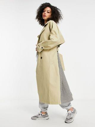 WOMEN Tall check spliced oversized trench coat in stone