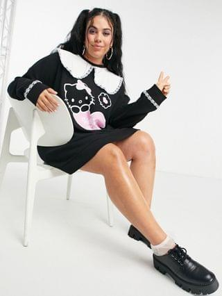 WOMEN New Girl Order Curve x Hello Kitty oversized sweater dress with collar