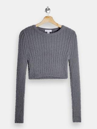 WOMEN Topshop fluffy ribbed cropped sweater in gray