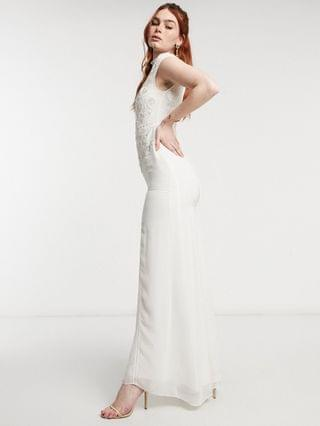 WOMEN Hope & Ivy Bridal floral beaded and embroidered maxi dress with open back in ivory