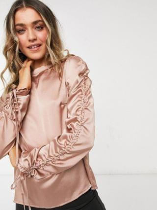 WOMEN In The Style exclusive satin ruched sleeve top in rose