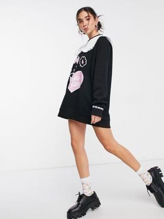 WOMEN New Girl Order x Hello Kitty oversized sweater dress with collar