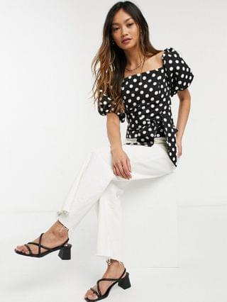 WOMEN River Island polka dot cropped bardot top in black