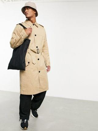 lightweight single breasted trench coat in camel