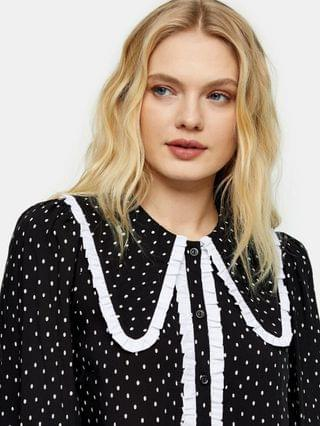WOMEN Topshop oversized collared top in black and white