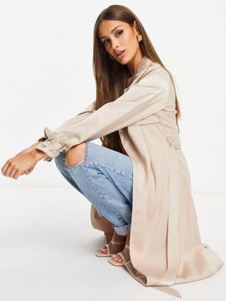 WOMEN Missguided satin trench in champagne