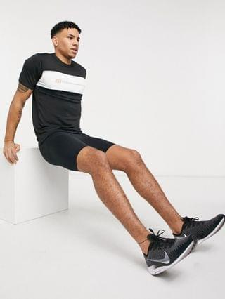 Jack & Jones Core Performance color block t-shirt in black & white